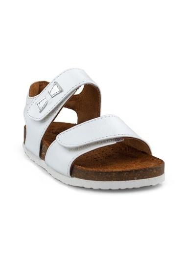 Cicibebe Crocodil Deri Kız Çocuk Sandalet Beyaz